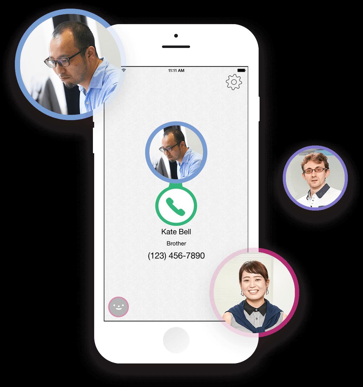よく電話するユーザーをあらかじめ登録して、ワンタッチで電話がかけられるアプリです。